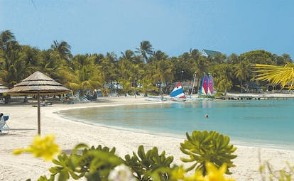 St James's Club Antigua sea shore beach boats umbrellas