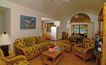 St James's Club Antigua villa lounge sofas armchairs dining table