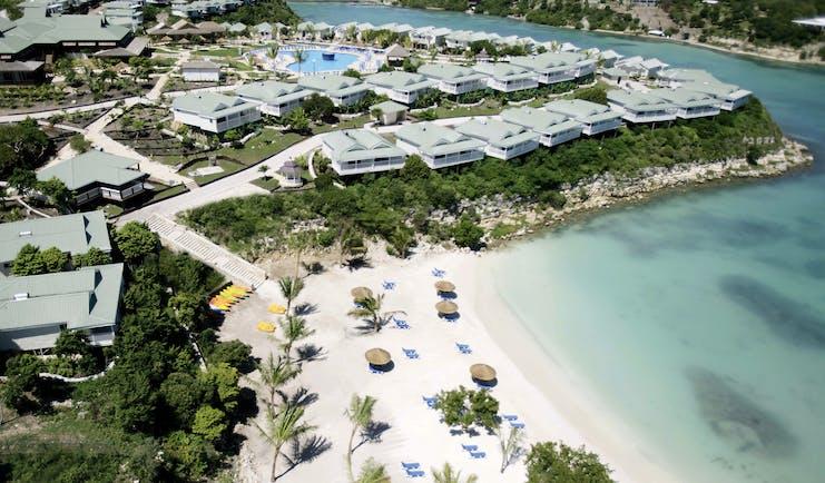 Verandah Resort and Spa Antigua aerial view of resort and beach