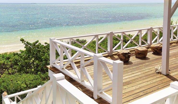 Kamalame Cay Bahamas veranda overlooking the ocean