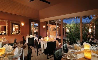 Pink Sands Bahamas garden terrace restaurant indoor dining room classic decor