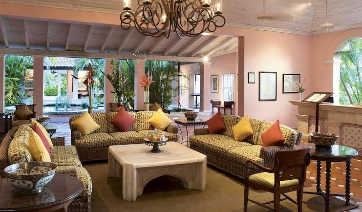 Fairmont Royal Pavilion Barbados lobby seating area with three sofas