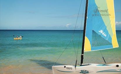 Fairmont Royal Pavilion Barbados water sports hobiecat couple kayaking on the ocean