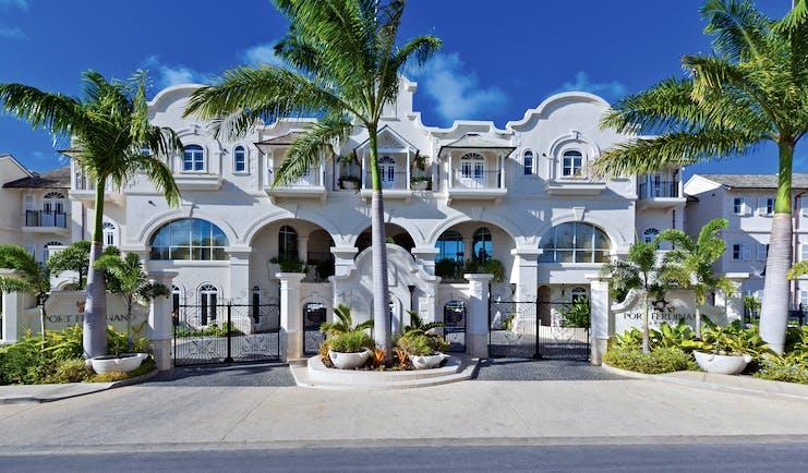 Port Ferdinand Barbados main entrance exterior palm trees
