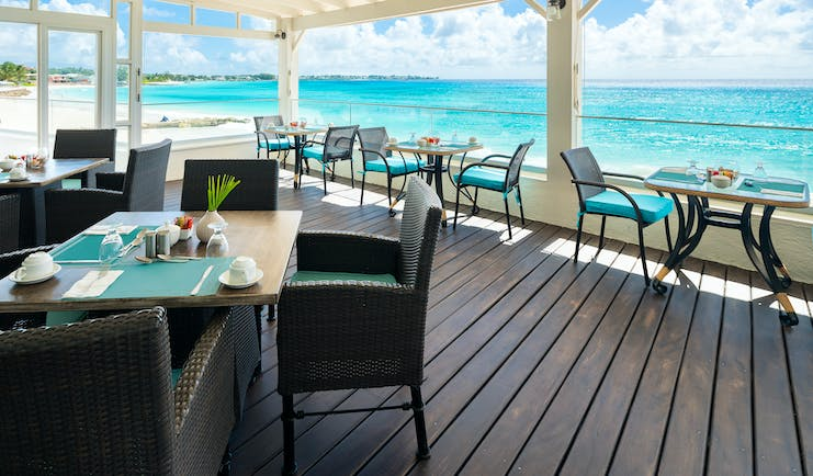 Sea Breeze Barbados Aqua Terra restaurant covered terrace overlooking the ocean