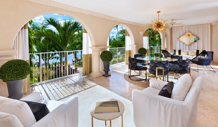 St Peters Bay beachfront house lounge, sofas armchairs, bright decor