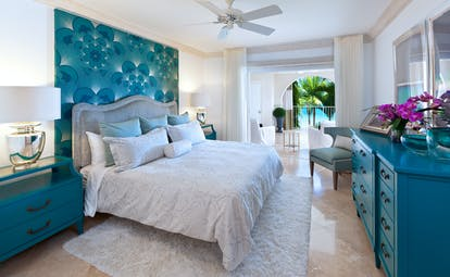 St Peters Bay oceanview room, bed, bright modern decor, access to private terrace