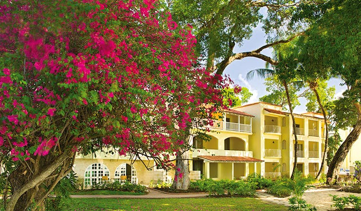 Tamarind Barbados exterior hotel building lawn trees pink flowers