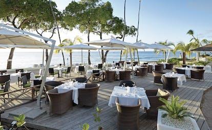 Tamarind Barbados outdoor dining terrace overlooking the ocean