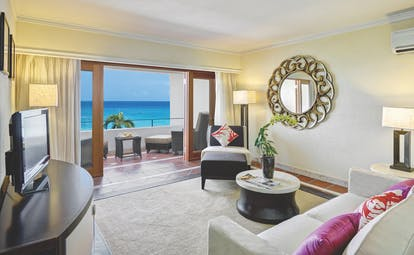 The House Barbados ocean view suite lounge area opening out to terrace overlooking ocean