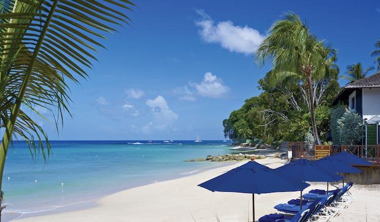 Sandpiper Barbados  beach sun loungers and umbrellas