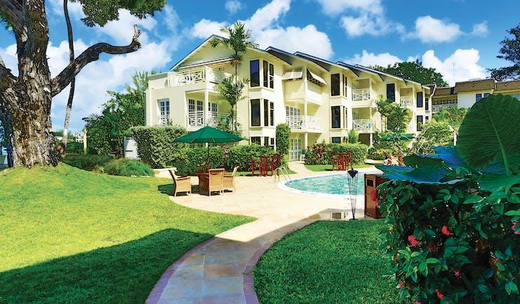 Treasure Beach Barbados exterior hotel building overlooking pool
