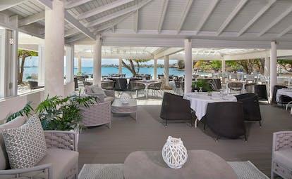 White wooden structure of beach restaurant