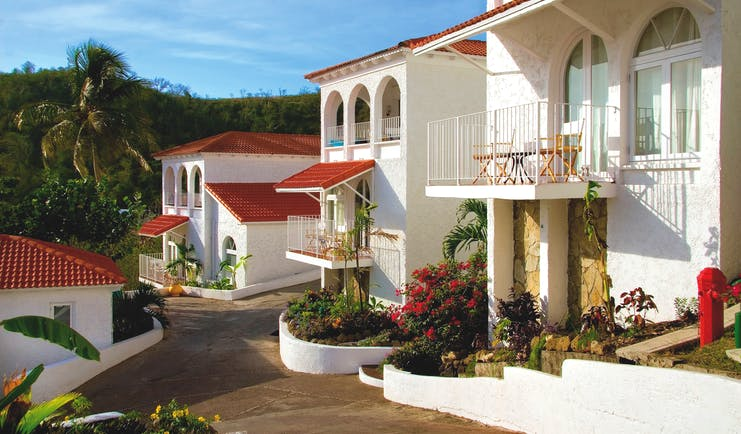 Mount Cinnamon Grenada exterior outside view of hotel showing upper rooms with private balconies
