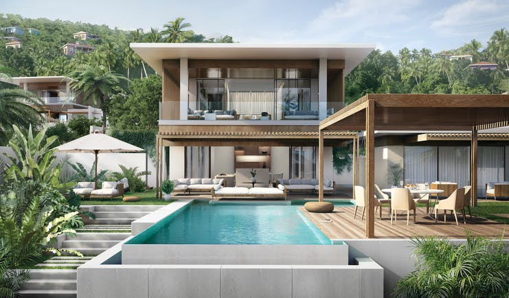 Silversands Grenada villa exterior with pool outdoor dining and seating areas
