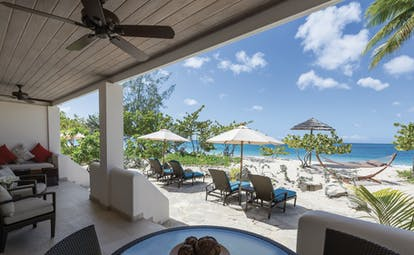 Spice Island Grenada beach terrace indoor and outdoor seating on the beach front