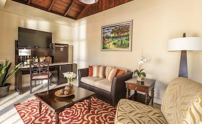 Spice Island Grenada lounge area  sofa armchairs mini bar television