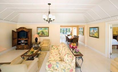 Half Moon Jamaica villa interior lounge area sofas armchairs elegant décor