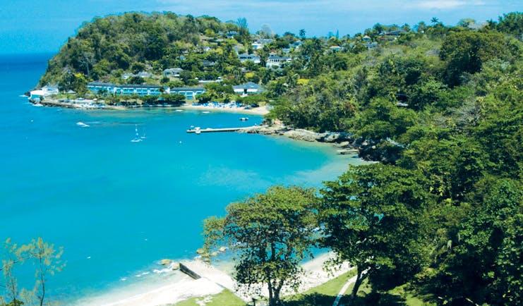 Round Hill Jamaica aerial shot of beach resort in background