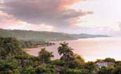 Round Hill Jamaica landscape ocean at sunset view of island