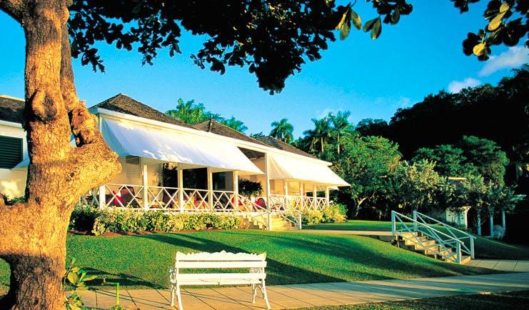Round Hill Jamaica lobby veranda gardens and trees