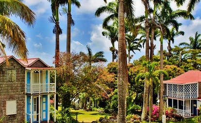 Cottages with red roofs and white balconies surrounded by palm trees at Hermitage Inn Nevis