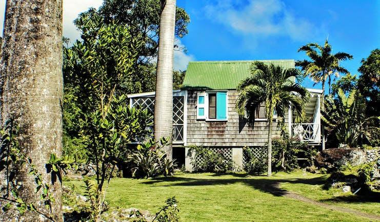 Palm trees and grass with small cottasge with green roof and blue shtters at Hermitage Inn Nevis