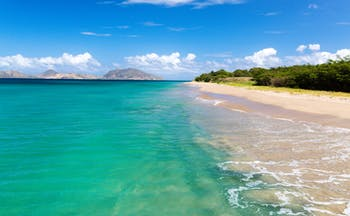 Nevis beach, sand, sea, ST Kitts and the  Narrows in the background