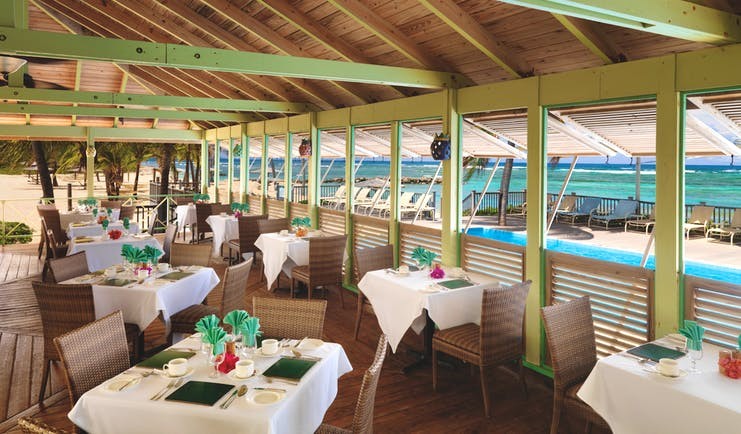 Nisbet Plantation Nevis coconuts dining restaurant on the beach