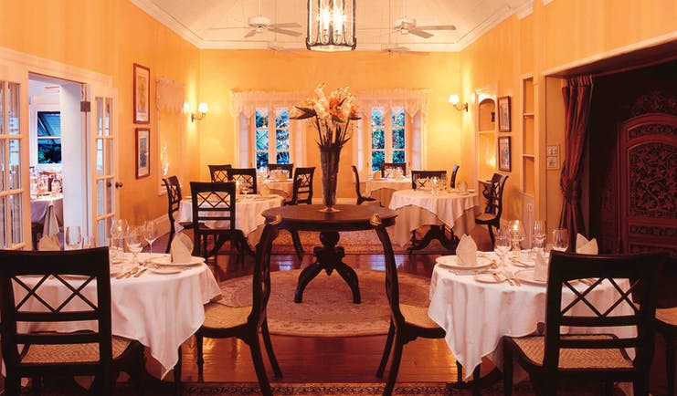 Nisbet Plantation Nevis dining at the Great House formal indoor dining