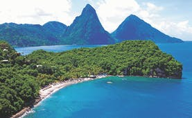 Anse Chastanet St Lucia aerial shot of beach and island mountains in the background