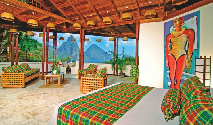 Anse Chastanet St Lucia premium hillside bedroom lounge area overlooking ocean