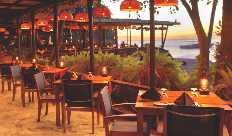 Anse Chastanet St Lucia  restaurant at sunset overlooking the ocean