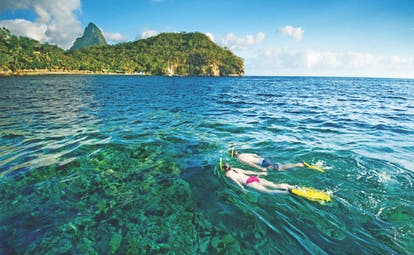 Anse Chastanet St Lucia snorkelling two people snorkelling in the Caribbean sea