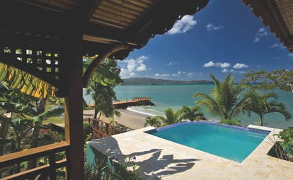 Calabash Cove St Lucia waters edge cottage pool overlooking the beach