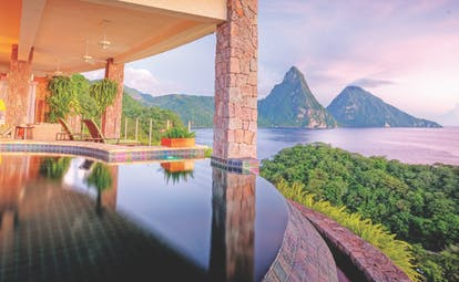 Jade Mountain St Lucia galaxy infinity pool overlooking Caribbean Sea and Pitons