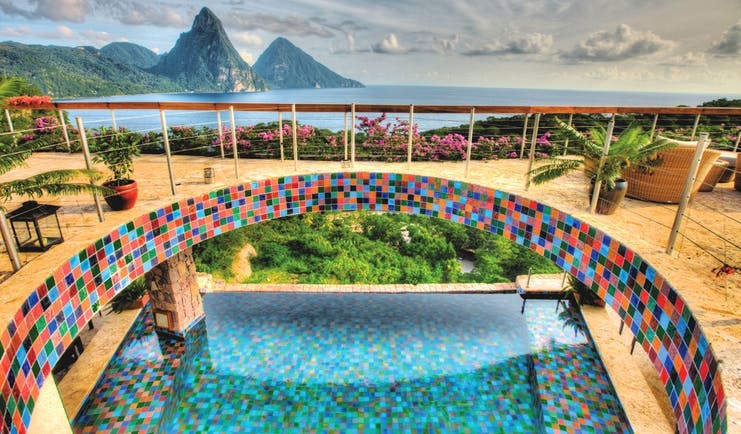 Jade Mountain St Lucia infinity pool taken from balcony above views of the ocean