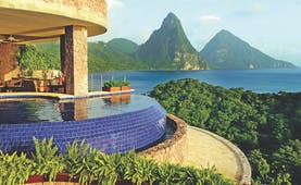 Jade Mountain St Lucia sanctuary infinity pool overlooking Caribbean sea and Pitons