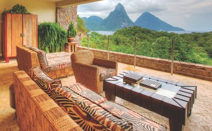 Jade Mountain St Lucia sky lounge indoor seating area with views of Caribbean sea and Pitons