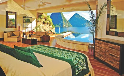 Jade Mountain St Lucia star bedroom missing fourth wall infinity pool overlooking Caribbean sea and Pitons