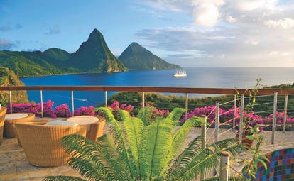 Jade Mountain St Lucia terrace with outdoor seating area overlooking the Caribbean sea and the Pitons