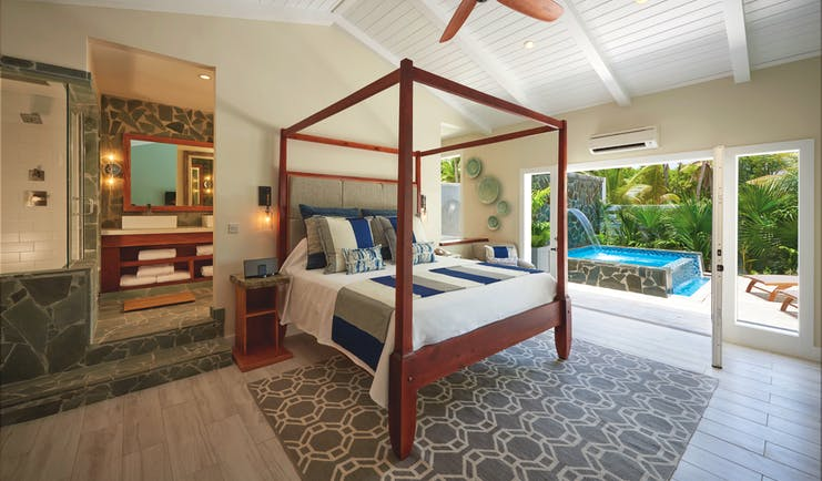 Serenity Coconut Bay St Lucia butler suite four poster bed en suite bathroom private plunge pool