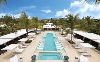 Serenity Coconut Bay St Lucia aerial shot of pool swimming pool plunge pool sun loungers umbrellas