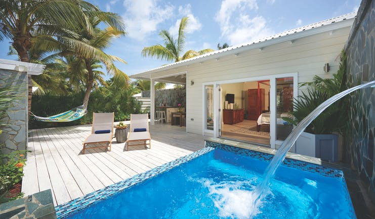 Serenity Coconut Bay St Lucia private plunge pool and outdoor seating area