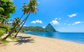 Paradise Beach in Soufriere Bay in Saint Lucia, Piton in the background