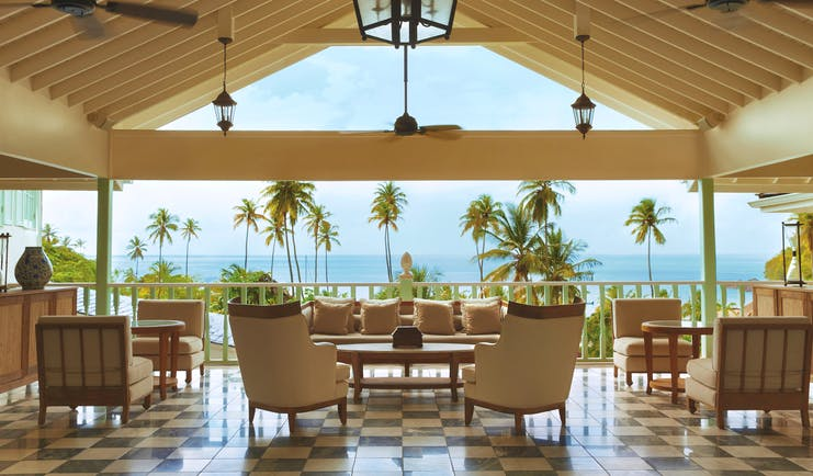 Sugarbeach St Lucia communal lounge area with views of ocean