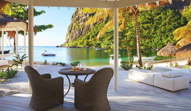 Sugarbeach St Lucia outdoor seating area beside the beach