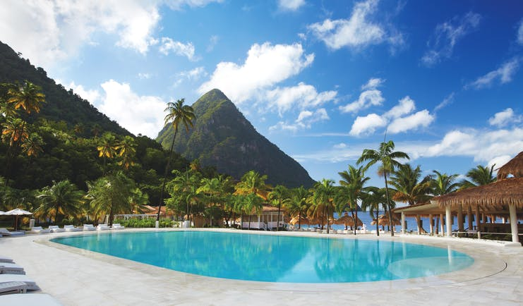 Sugarbeach St Lucia pool with views of Caribbean sea and the Pitons