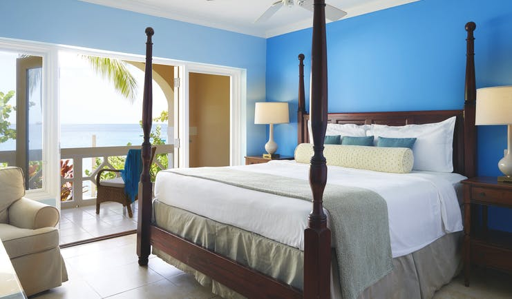 The Body Holiday St Lucia luxury ocean view room four poster bed balcony with ocean views