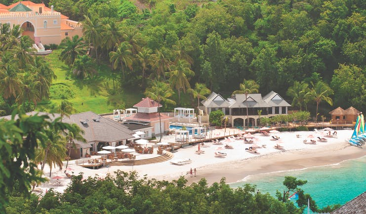 The Body Holiday St Lucia resort exterior including hotel complex and beach